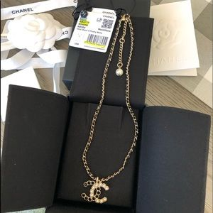 CHANEL 20B Gold, Black & Pearl Logo Necklace - NWT